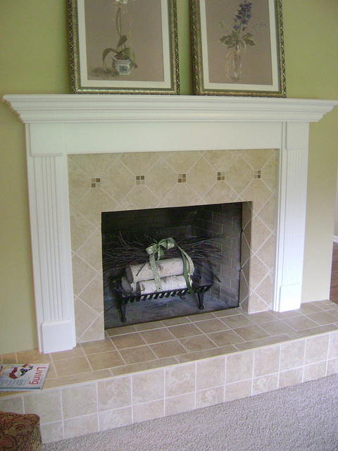 Tile Fireplace Traditional Indoor Fireplaces Grand Rapids By Degraaf Interiors