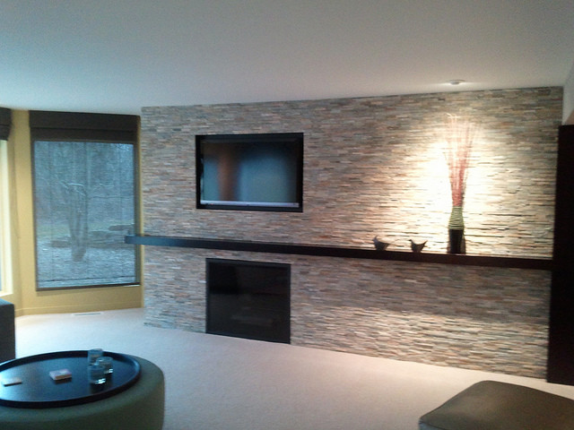 Tile Fireplace Contemporary Indoor Fireplaces Grand Rapids By DeGraaf Interiors