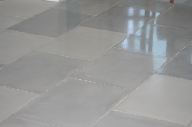 Modern Living Room Tile Flooring tile floor but tiles are handmade from concrete! - modern - living