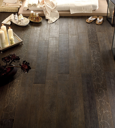 Tile Floors to Look like wood Traditional Living Room
