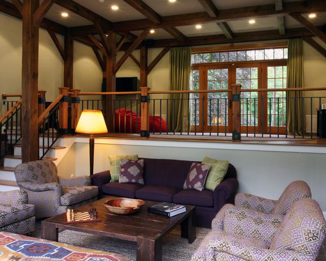 Timber frame barn family room with custom rail farmhouse-living-room