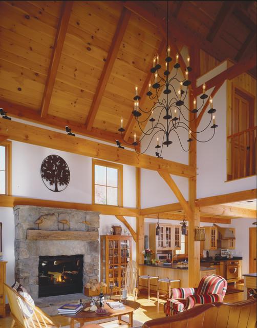 Timber Frame Barn Home Great Room Farmhouse Living