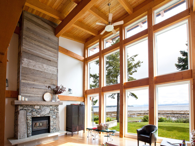 Timber Frame Great Room Contemporary Living Room