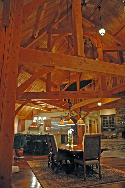 Timber Frame Home traditional-living-room