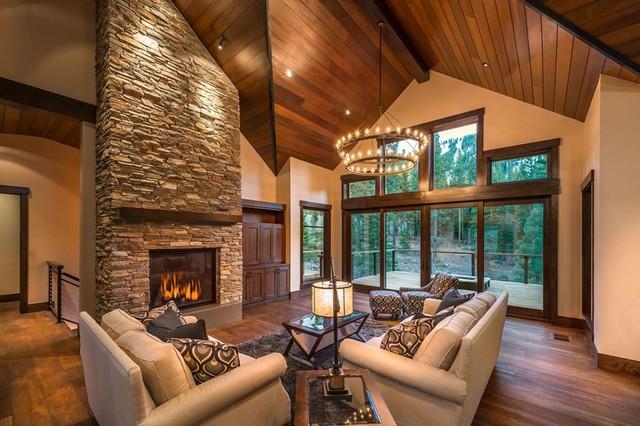 Timber Frame Home Lighting Rustic Living Room Seattle