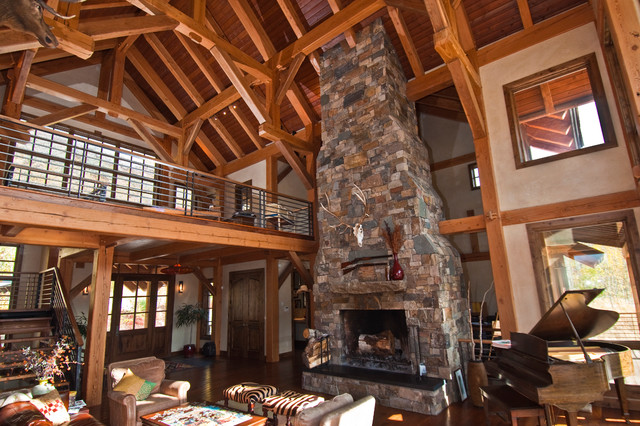 Timber Frame House In Colorado Eclectic Living Room