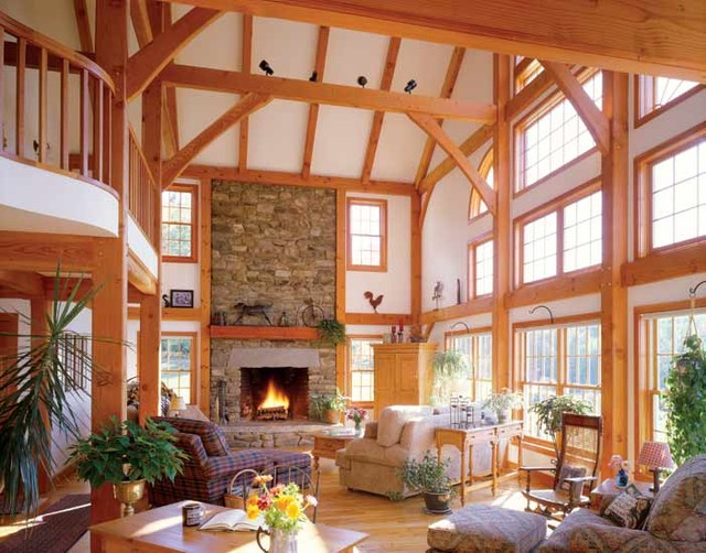 Timber frame interiors for A frame interior
