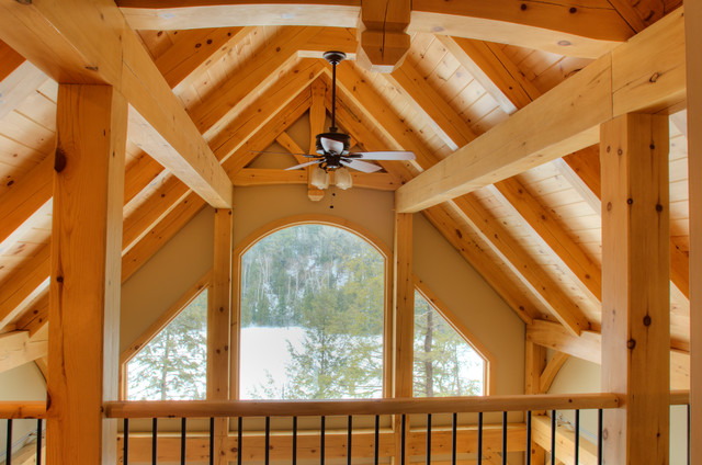 Timberframe Hybrid at the Lake rustic-living-room