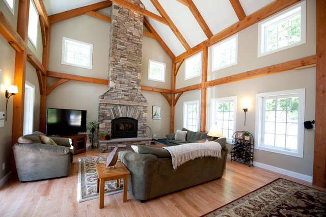 Timberpeg Post And Beam Derry NH Traditional Living Room