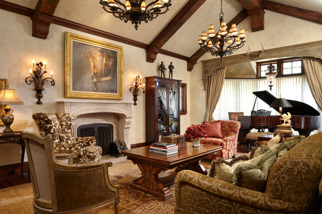 Timeless tudor estate traditional living room minneapolis by bruce kading interior design Tudor home interior design ideas