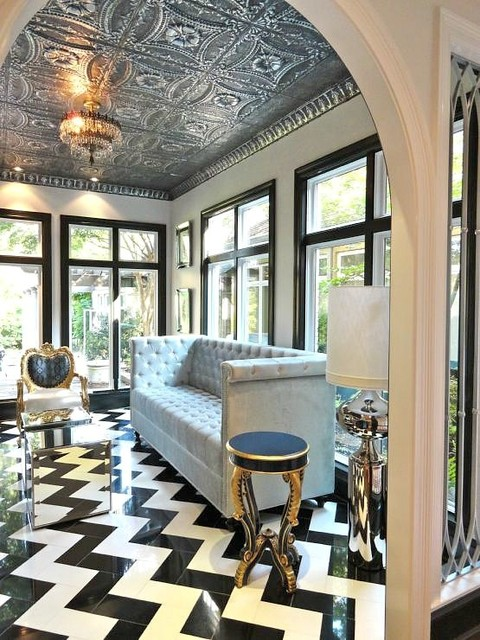 Tin ceiling tiles eclectic living room other metro - Living room ceiling tiles ...