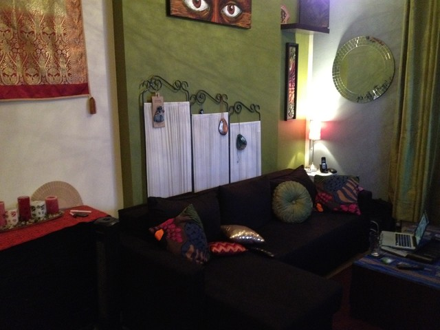 Tiny Grotty Studio Makeover eclectic-living-room