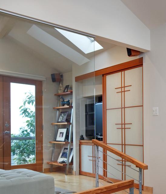 Tiny house hidden media storage by kimball starr interior contemporary living room san - Secret keys contemporary living room design ...