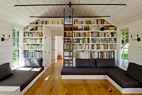 Tiny House large living room with plenty of room for books, too often missed in smaller homes