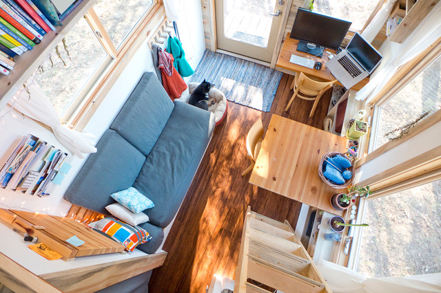 Tiny House Looking Down from Loft Contemporary Living Room