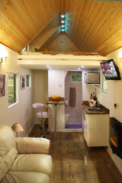 Tiny house on wheels internal modern living room by tiny house uk - The modern tiny house ...