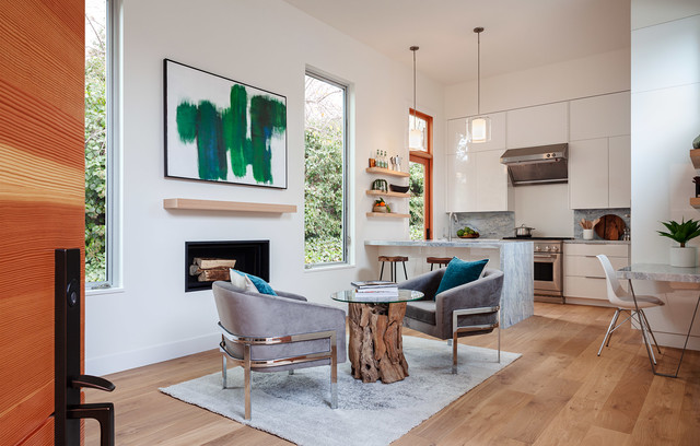 Small minimalist loft-style living room photo in San Francisco with white walls
