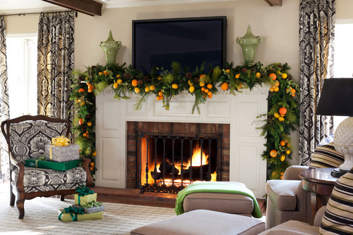 fireplace ideas for the holidays start with swags & wreaths