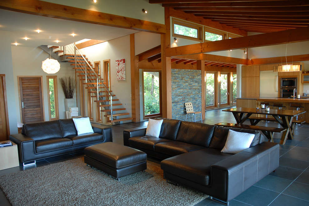 Example of a trendy open concept living room design in Vancouver