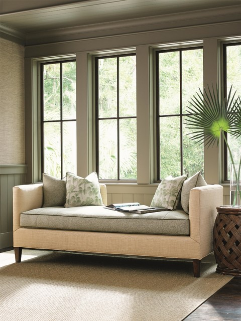 Settee In Living Room Part - 27: Tommy Bahama Home Bali Hai Contemporary Backless Sebastian Settee Tropical- Living-room