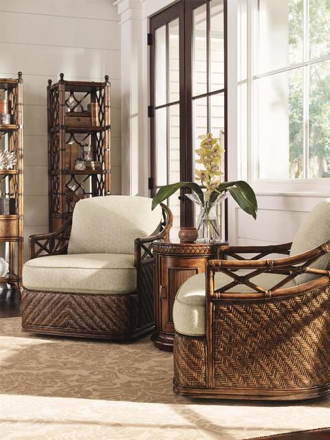 Tommy bahama home bali hai diamond cove swivel chair for Tropical living room furniture