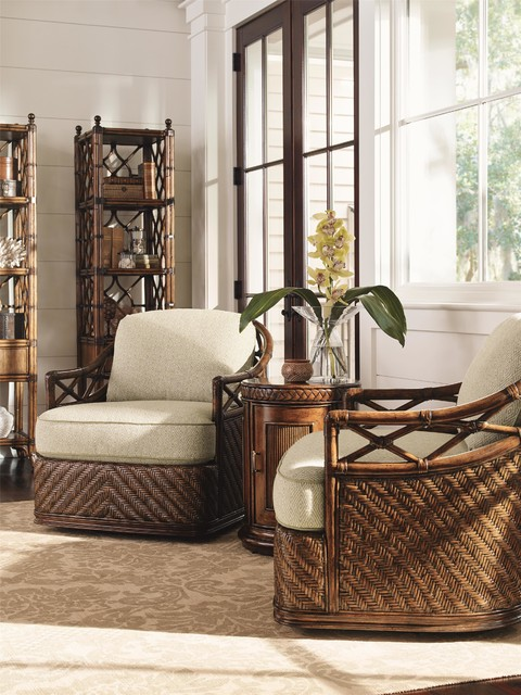 Tommy Bahama Home Bali Hai Diamond Cove Swivel Chair Tropical Living Room
