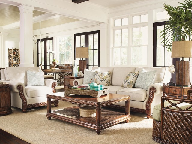 Tommy bahama home bali hai shoreline sofa tropical living room miami by baer 39 s furniture Bahama home decor for sale