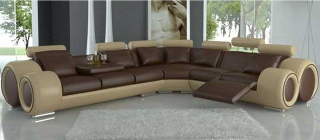 Tone Leather Sectional Sofas With Recliners Modern Living Room