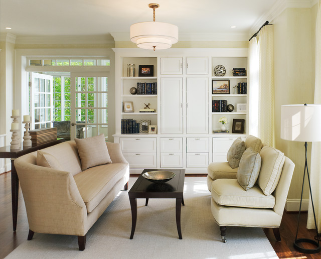 Small transitional living room photo in DC Metro with beige walls Living Room Closet  Houzz