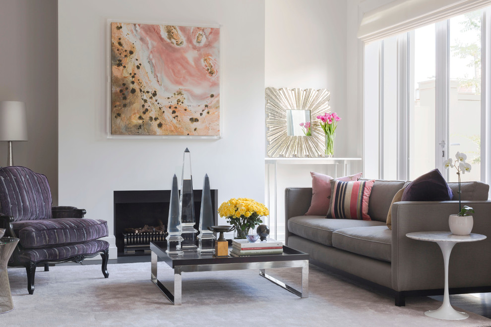 Mid-sized trendy open concept dark wood floor living room photo in Melbourne with white walls and a standard fireplace