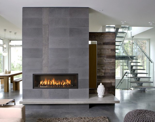 Fireplace S Installation Living Room Modern Concrete Floor Idea In Denver With White Walls A