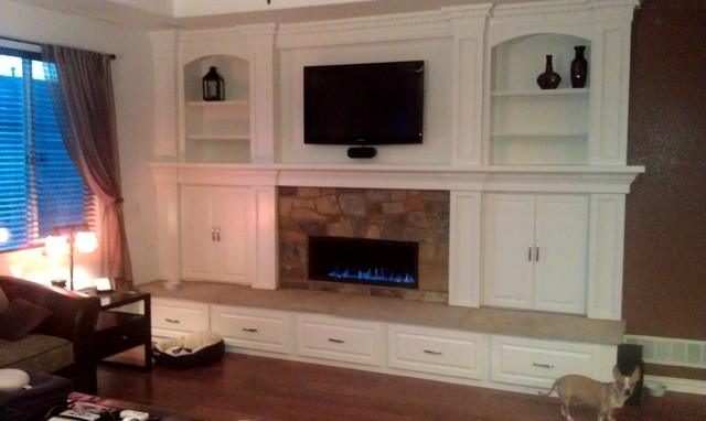 town and country fireplace with built ins traditional