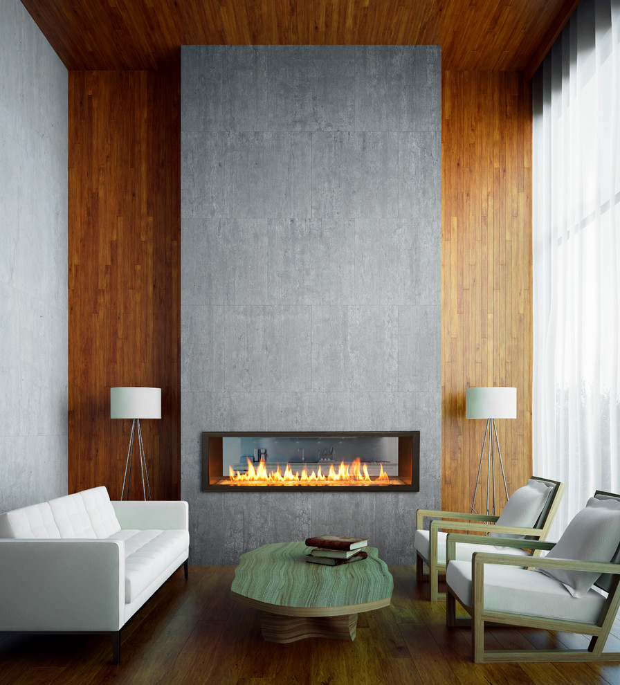 Inspiration for a small contemporary living room remodel in Sacramento with a two-sided fireplace and no tv