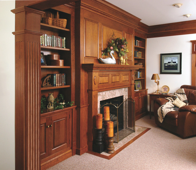 Traditional Cherry Fireplace Mantel and Bookshelves - Traditional - Living Room - cleveland - by ...