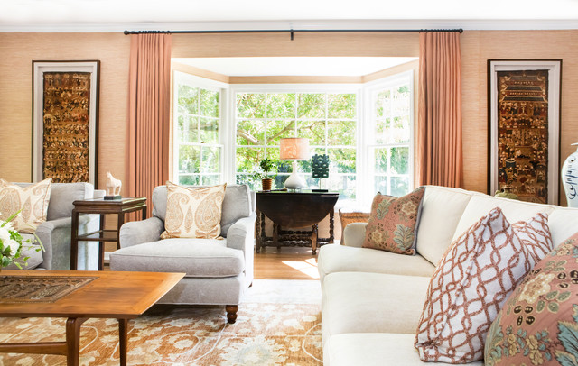 Traditional colonial in san marino transitional living for The family room san marino
