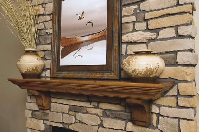 Traditional Knotty Alder Fireplace Mantel Shelf - Traditional ...