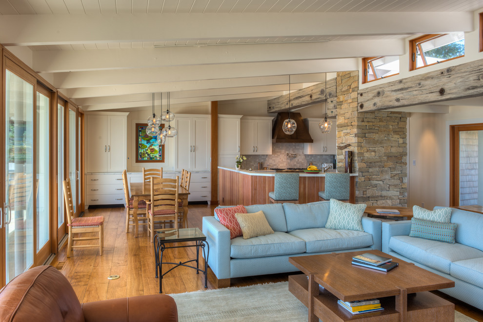 Example of a beach style open concept living room design in San Francisco