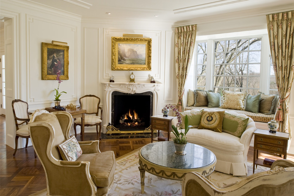 Inspiration for a timeless living room remodel in Philadelphia with a corner fireplace and white walls