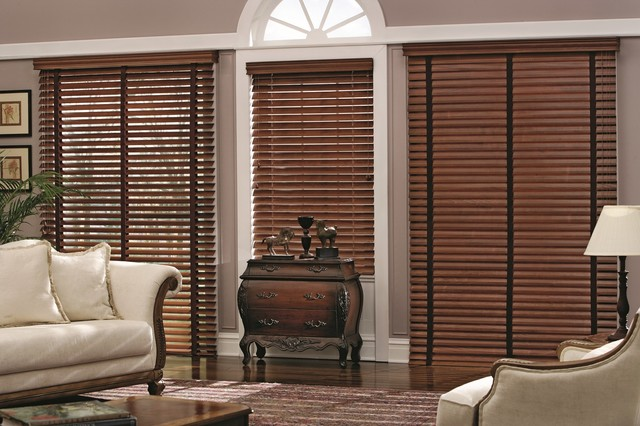 wood blinds traditional living room other metro by