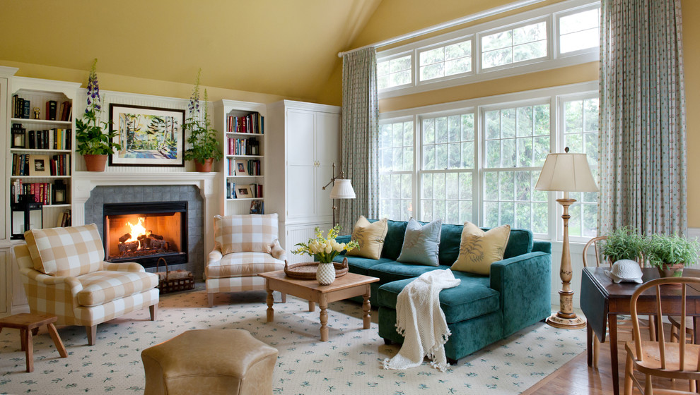 Living room library - traditional living room library idea in Chicago with yellow walls and no tv