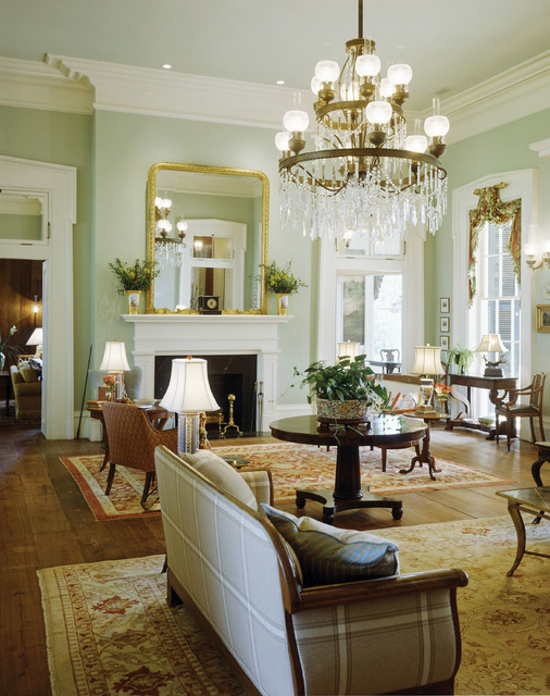 Plantation-Style Southern Estate - Traditional - Living ...