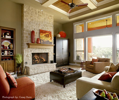 Does anyone know the paint color or the type of stone on - Traditional living room paint colors ...