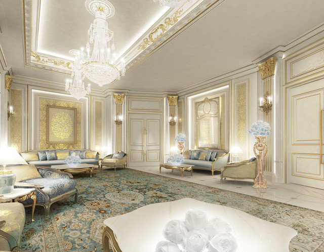 Beautiful Private Palace Interior Design   Dubai   UAE Traditional Living Room
