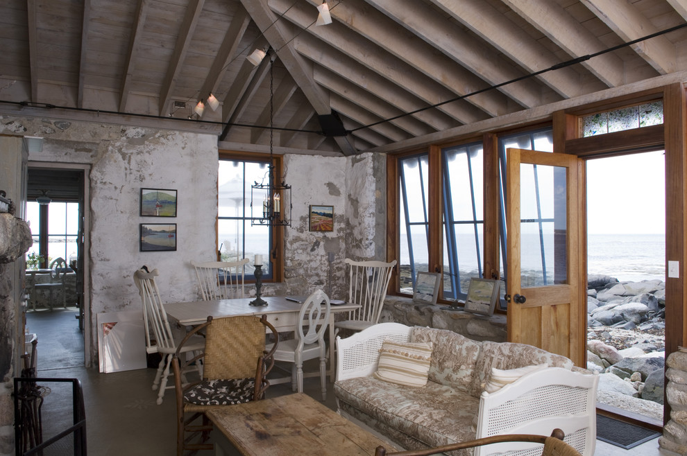 Small mountain style living room photo in Portland Maine