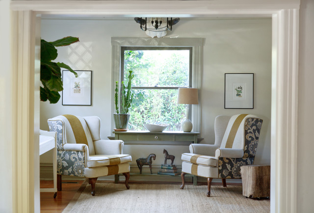 Living Room--wing back chair upholstery - Traditional - Living Room ...