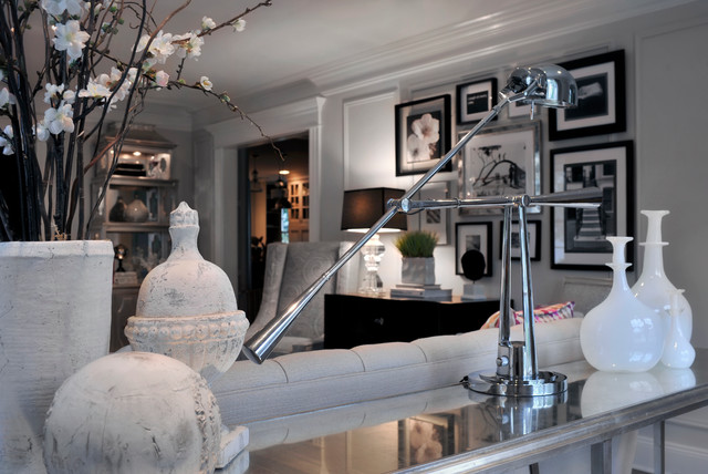 Traditional living room - Silver and black living room design ...