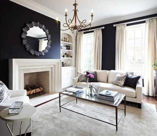 Lovely Contemporary Living Room By Laura Hay   Designer (Lisa Petrole    Photographer). Dark Blue ...