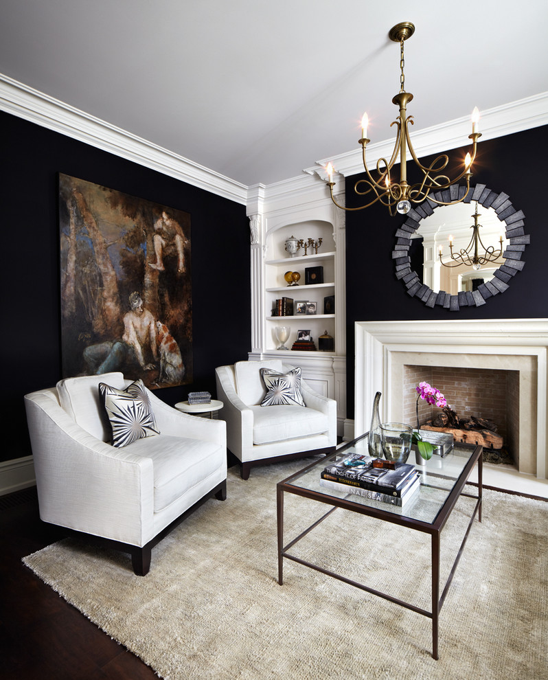 Living room - traditional enclosed living room idea in Dallas with black walls and a standard fireplace