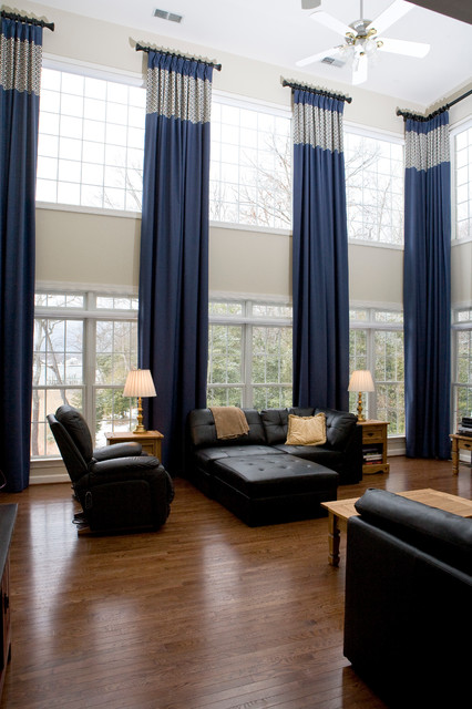 Two story window treatments traditional living room - Window curtain ideas for living room ...