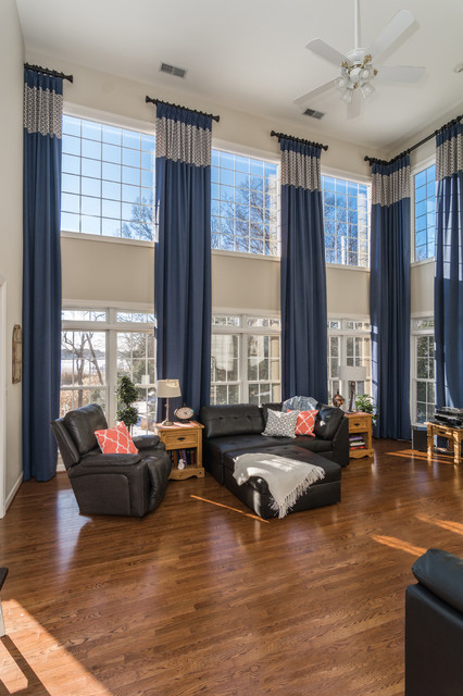 Two-Story Window Treatments traditional-living-room
